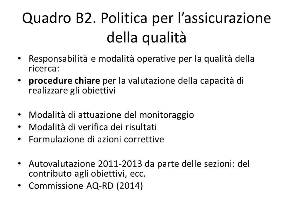 Quadro B2. Politica per l'assicurazione della qualità Responsabilità e modalità operative per la qualità della ricerca: procedure chiare per la valuta