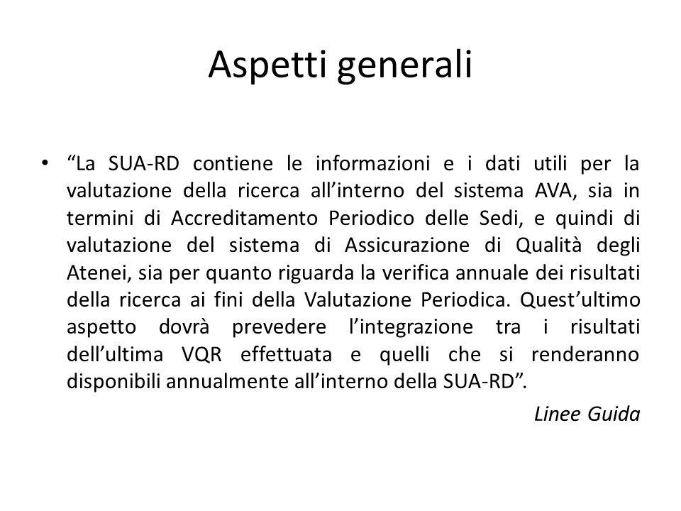 """Aspetti generali """"La SUA-RD contiene le informazioni e i dati utili per la valutazione della ricerca all'interno del sistema AVA, sia in termini di Ac"""