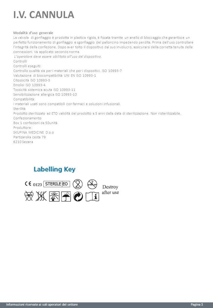 I.V. CANNULA Informazioni riservate ai soli operatori del settore Pagina 3 Modalità d'uso generale La valvola di gonfiaggio è prodotta in plastica rig