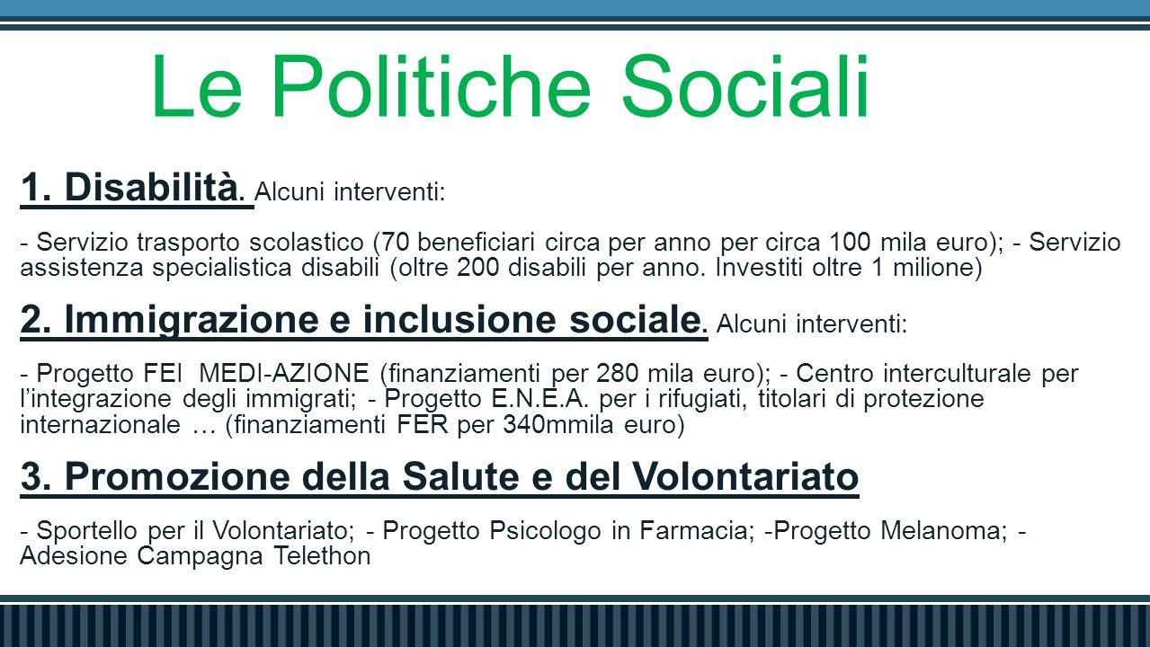 Le Politiche Sociali 1. Disabilità.
