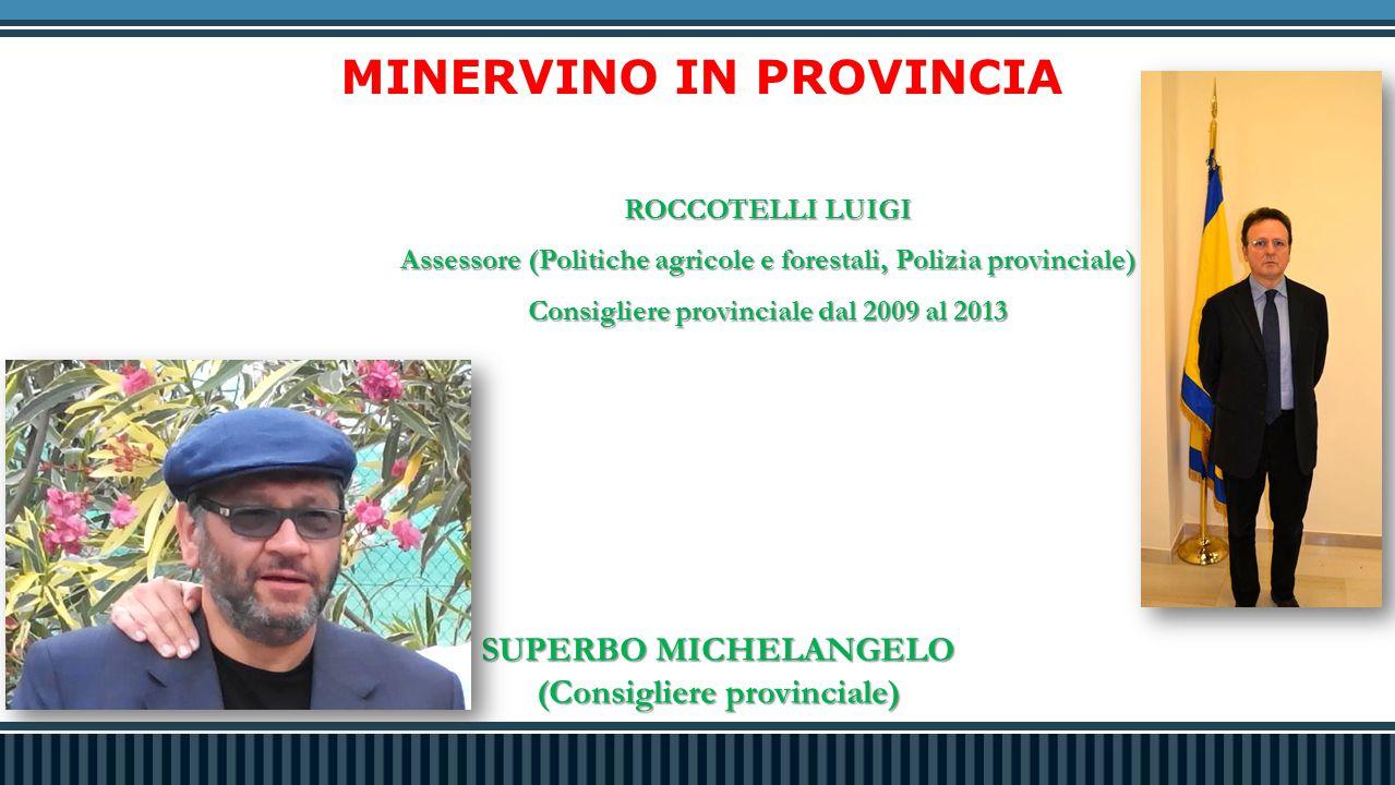 MINERVINO IN PROVINCIA ROCCOTELLI LUIGI Assessore (Politiche agricole e forestali, Polizia provinciale) Consigliere provinciale dal 2009 al 2013 SUPERBO MICHELANGELO (Consigliere provinciale)