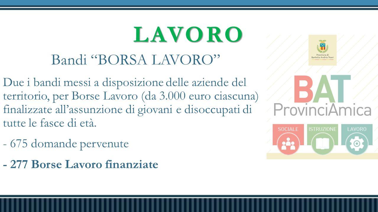 """LAVORO Bandi """"BORSA LAVORO"""" Due i bandi messi a disposizione delle aziende del territorio, per Borse Lavoro (da 3.000 euro ciascuna) finalizzate all'a"""