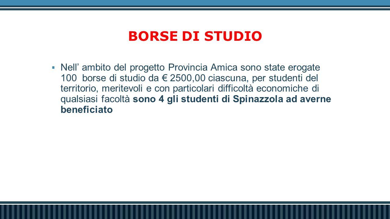 BORSE DI STUDIO  Nell' ambito del progetto Provincia Amica sono state erogate 100 borse di studio da € 2500,00 ciascuna, per studenti del territorio,