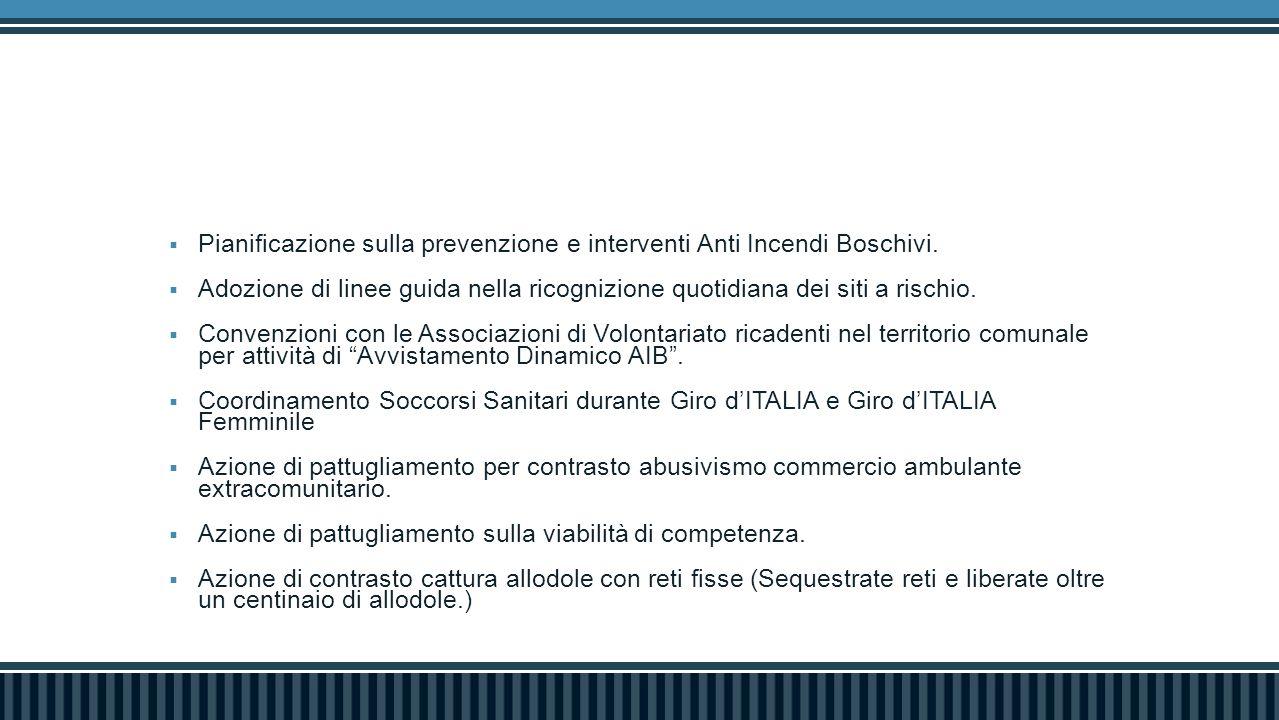 Pianificazione sulla prevenzione e interventi Anti Incendi Boschivi.  Adozione di linee guida nella ricognizione quotidiana dei siti a rischio.  C