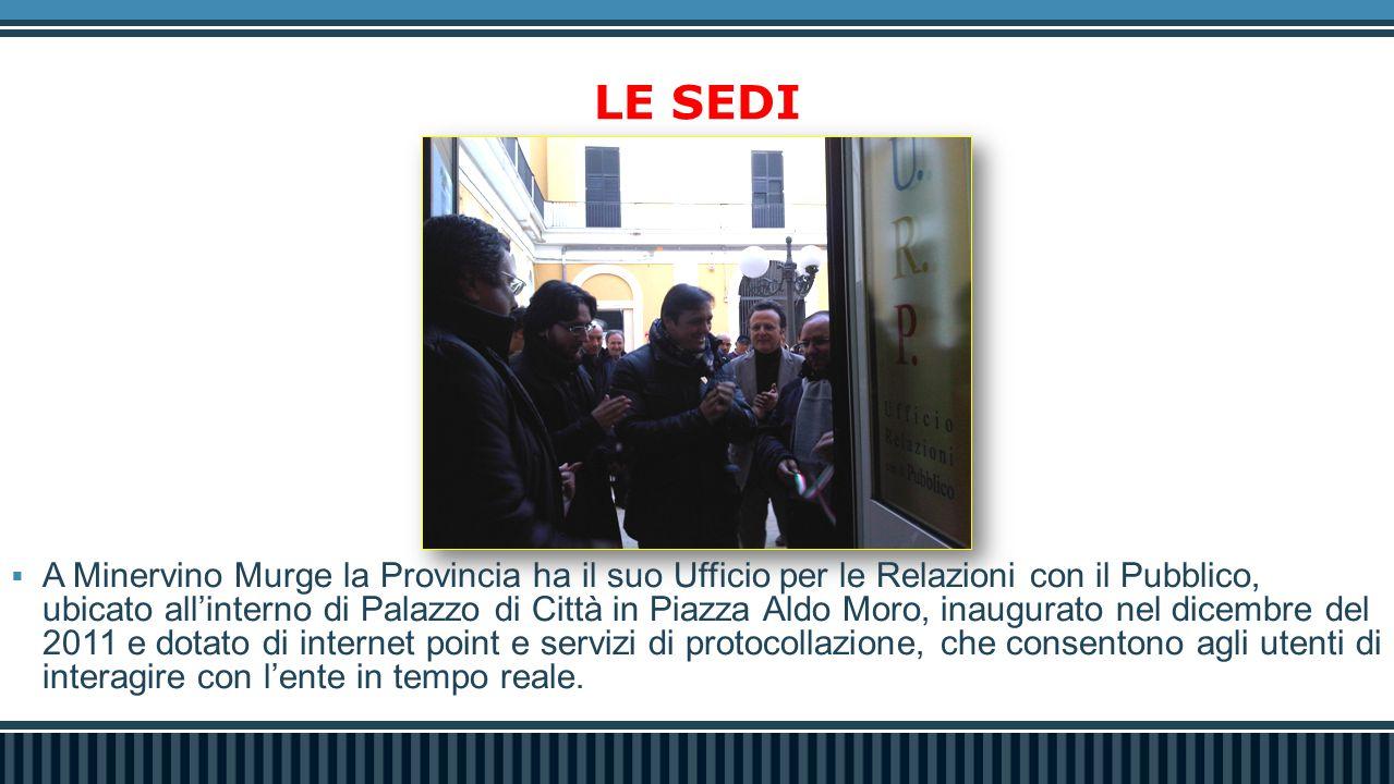 LE SEDI  A Minervino Murge la Provincia ha il suo Ufficio per le Relazioni con il Pubblico, ubicato all'interno di Palazzo di Città in Piazza Aldo Mo