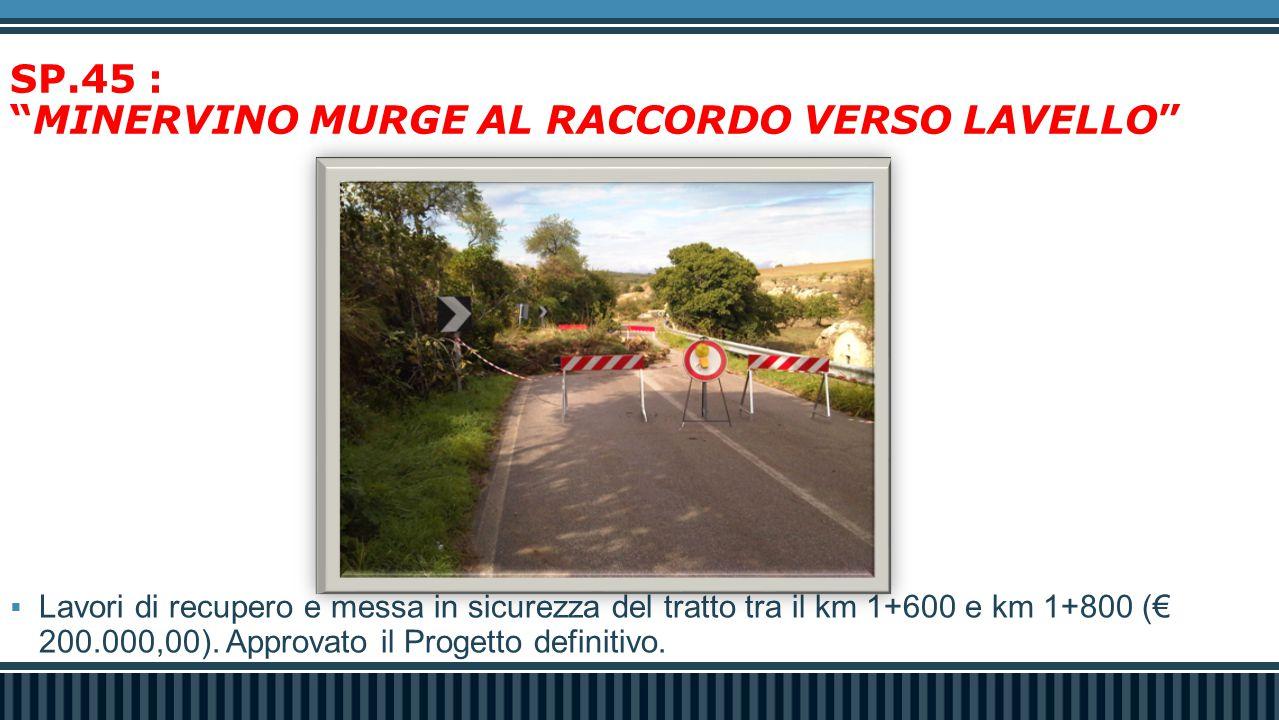 """SP.45 : """"MINERVINO MURGE AL RACCORDO VERSO LAVELLO""""  Lavori di recupero e messa in sicurezza del tratto tra il km 1+600 e km 1+800 (€ 200.000,00). Ap"""