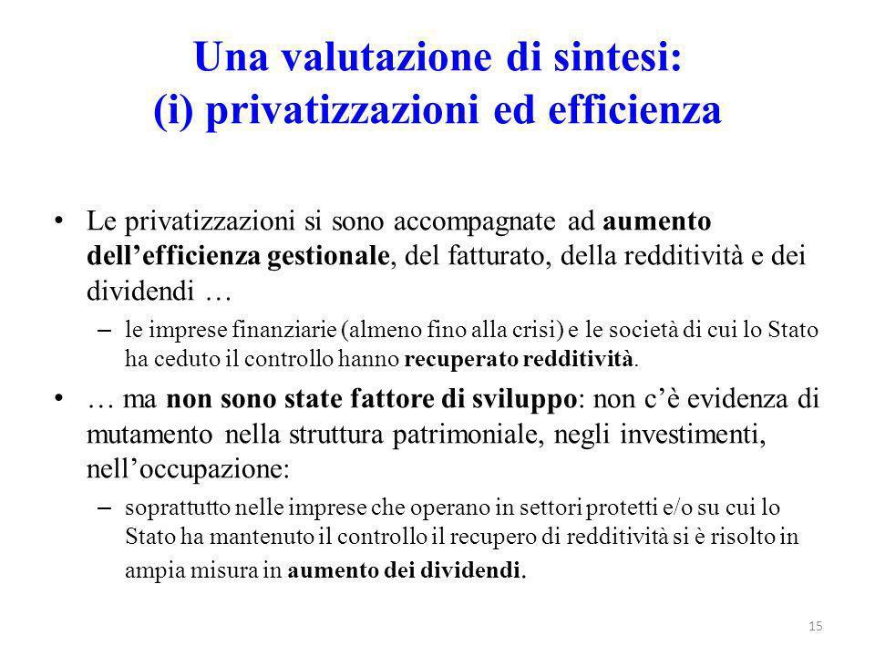 Una valutazione di sintesi: (i) privatizzazioni ed efficienza Le privatizzazioni si sono accompagnate ad aumento dell'efficienza gestionale, del fattu