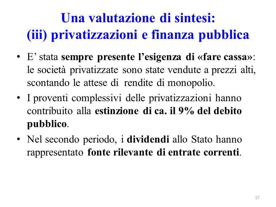 Una valutazione di sintesi: (iii) privatizzazioni e finanza pubblica E' stata sempre presente l'esigenza di «fare cassa»: le società privatizzate sono state vendute a prezzi alti, scontando le attese di rendite di monopolio.