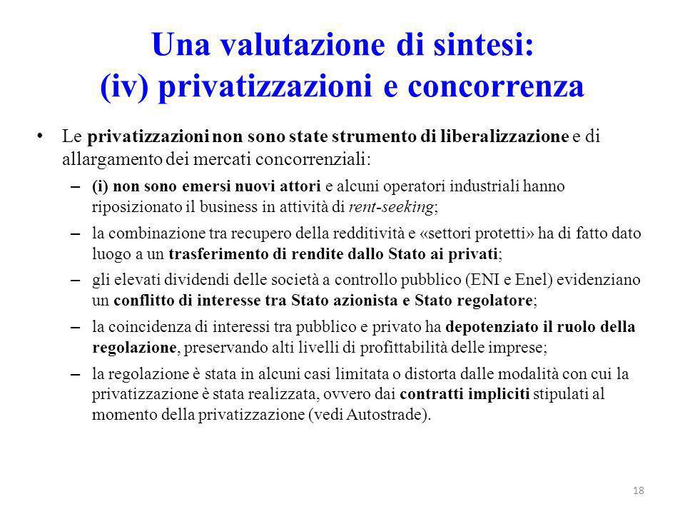 Una valutazione di sintesi: (iv) privatizzazioni e concorrenza Le privatizzazioni non sono state strumento di liberalizzazione e di allargamento dei m