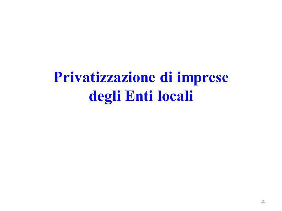 Privatizzazione di imprese degli Enti locali 20