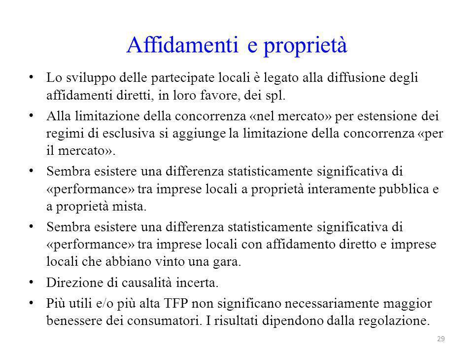 Affidamenti e proprietà Lo sviluppo delle partecipate locali è legato alla diffusione degli affidamenti diretti, in loro favore, dei spl. Alla limitaz