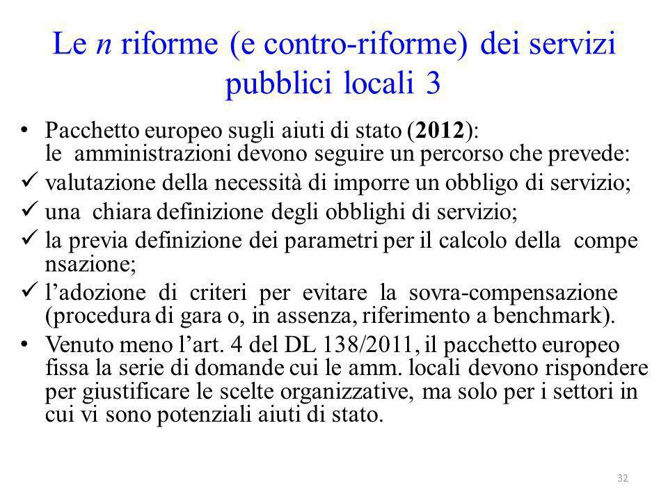Le n riforme (e contro-riforme) dei servizi pubblici locali 3 Pacchetto europeo sugli aiuti di stato (2012): le amministrazioni devono seguire un perc