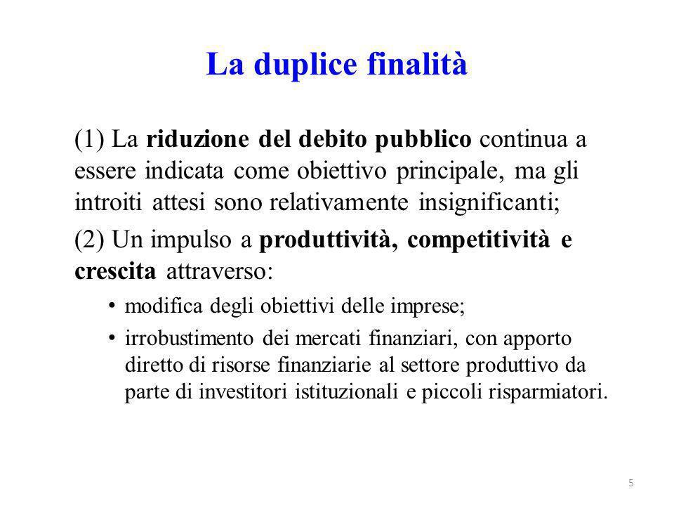 La duplice finalità (1) La riduzione del debito pubblico continua a essere indicata come obiettivo principale, ma gli introiti attesi sono relativamen