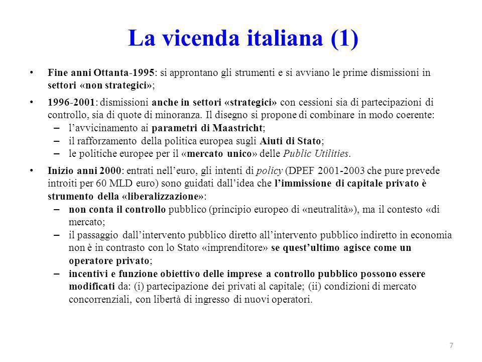 La vicenda italiana (1) Fine anni Ottanta-1995: si approntano gli strumenti e si avviano le prime dismissioni in settori «non strategici»; 1996-2001: dismissioni anche in settori «strategici» con cessioni sia di partecipazioni di controllo, sia di quote di minoranza.