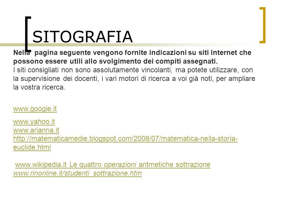 SITOGRAFIA Nella pagina seguente vengono fornite indicazioni su siti Internet che possono essere utili allo svolgimento dei compiti assegnati.