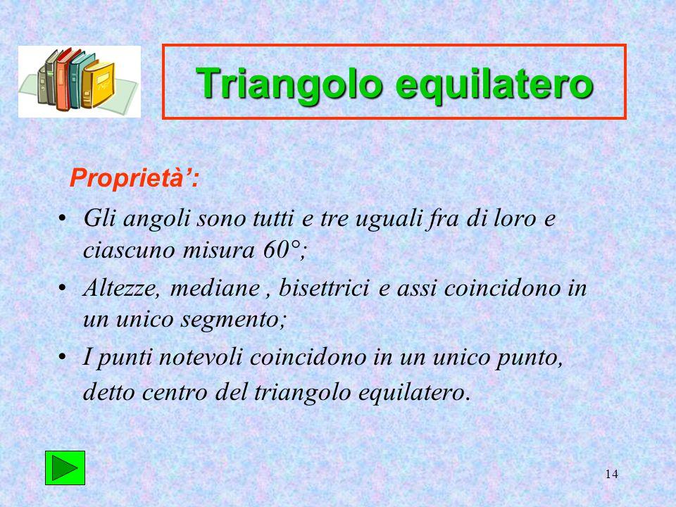 14 Triangolo equilatero Gli angoli sono tutti e tre uguali fra di loro e ciascuno misura 60°; Altezze, mediane, bisettrici e assi coincidono in un unico segmento; I punti notevoli coincidono in un unico punto, detto centro del triangolo equilatero.