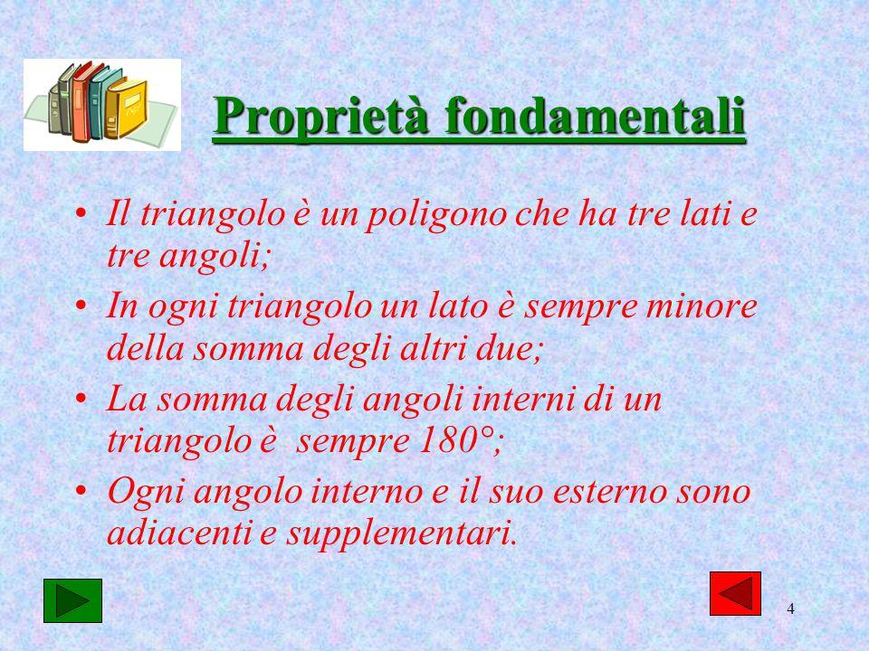 4 Proprietà fondamentali Il triangolo è un poligono che ha tre lati e tre angoli; In ogni triangolo un lato è sempre minore della somma degli altri du