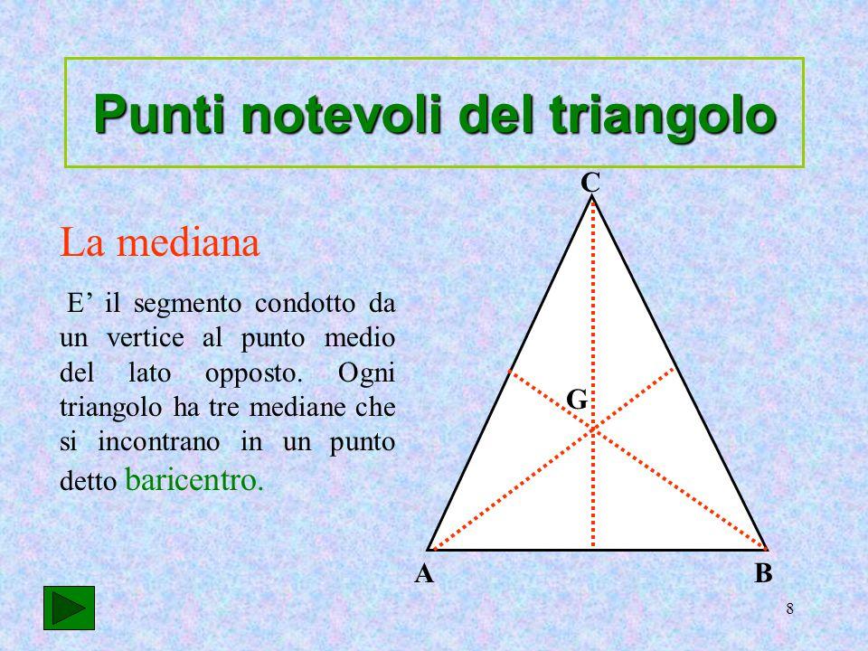 9 La bisettrice è il segmento che divide l'angolo in due parti congruenti e che ha come estremi un vertice e un punto del lato opposto Ogni triangolo ha tre bisettrici che si incontrano in un punto detto incentro.