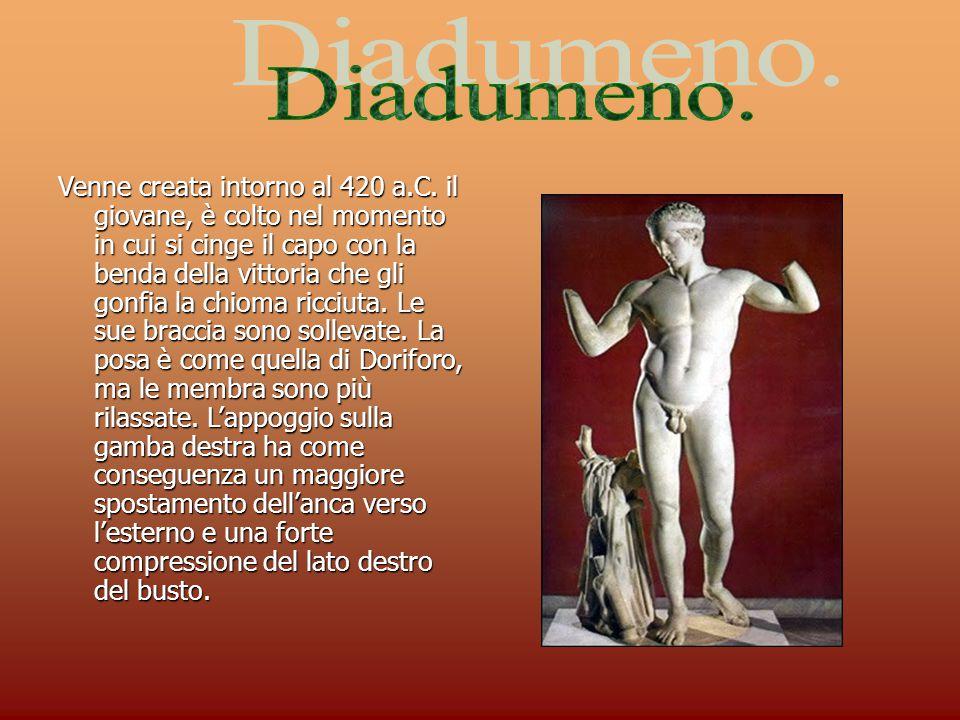 Venne creata intorno al 420 a.C. il giovane, è colto nel momento in cui si cinge il capo con la benda della vittoria che gli gonfia la chioma ricciuta