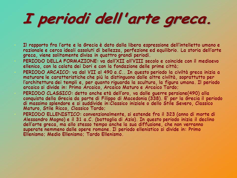 Il rapporto fra l'arte e la Grecia è dato dalla libera espressione dell'intelletto umano e razionale e cerca ideali assoluti di bellezza, perfezione e