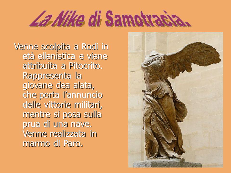 Venne scolpita a Rodi in età ellenistica e viene attribuita a Pitocrito. Rappresenta la giovane dea alata, che porta l'annuncio delle vittorie militar