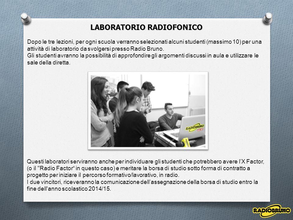 LABORATORIO RADIOFONICO Dopo le tre lezioni, per ogni scuola verranno selezionati alcuni studenti (massimo 10) per una attività di laboratorio da svol