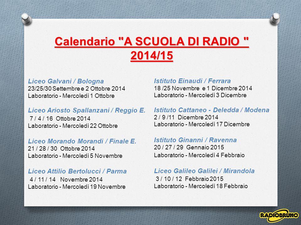 Liceo Galvani / Bologna 23/25/30 Settembre e 2 Ottobre 2014 Laboratorio - Mercoledì 1 Ottobre Liceo Ariosto Spallanzani / Reggio E. 7 / 4 / 16 Ottobre