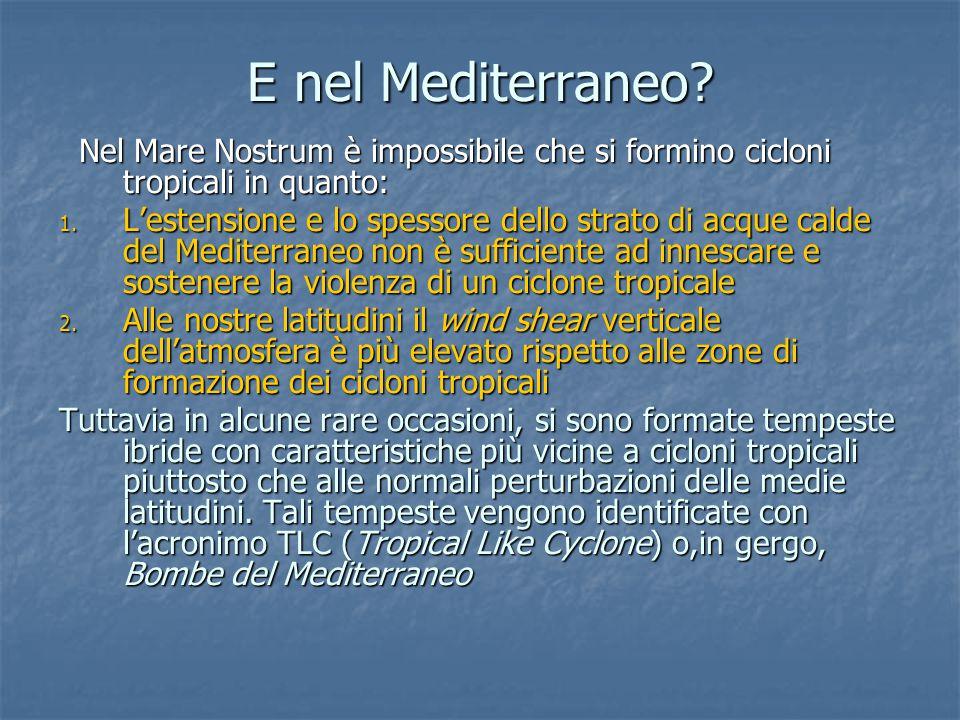E nel Mediterraneo? Nel Mare Nostrum è impossibile che si formino cicloni tropicali in quanto: Nel Mare Nostrum è impossibile che si formino cicloni t
