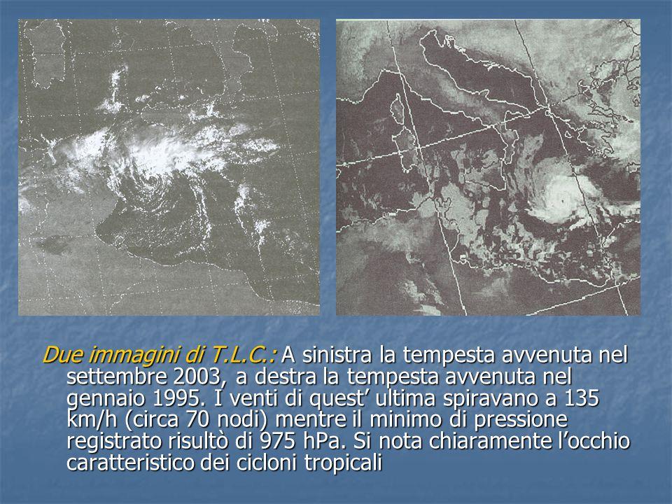 Due immagini di T.L.C.: A sinistra la tempesta avvenuta nel settembre 2003, a destra la tempesta avvenuta nel gennaio 1995. I venti di quest' ultima s