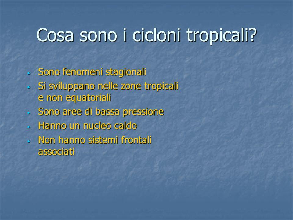 Cosa sono i cicloni tropicali? Sono fenomeni stagionali Sono fenomeni stagionali Si sviluppano nelle zone tropicali e non equatoriali Si sviluppano ne