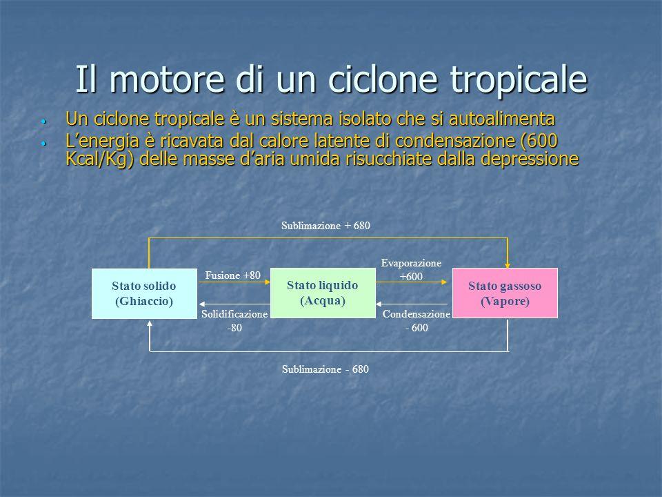 La fase matura Nella fase matura un ciclone tropicale è una eccezionale macchina distruttiva che pompa fino a 2 milioni di tonnellate d'aria al secondo, produce fino a 20 miliardi di metri cubi d'acqua in un giorno da cui ricava una quantità di energia pari a seicento miliardi di kilowatt (circa 200 volte l'energia prodotta giornalmente sul Pianeta) Nella fase matura un ciclone tropicale è una eccezionale macchina distruttiva che pompa fino a 2 milioni di tonnellate d'aria al secondo, produce fino a 20 miliardi di metri cubi d'acqua in un giorno da cui ricava una quantità di energia pari a seicento miliardi di kilowatt (circa 200 volte l'energia prodotta giornalmente sul Pianeta)