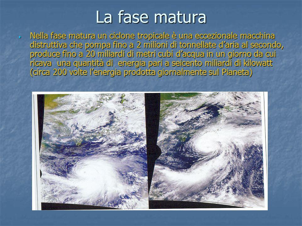 La fase matura Nella fase matura un ciclone tropicale è una eccezionale macchina distruttiva che pompa fino a 2 milioni di tonnellate d'aria al second
