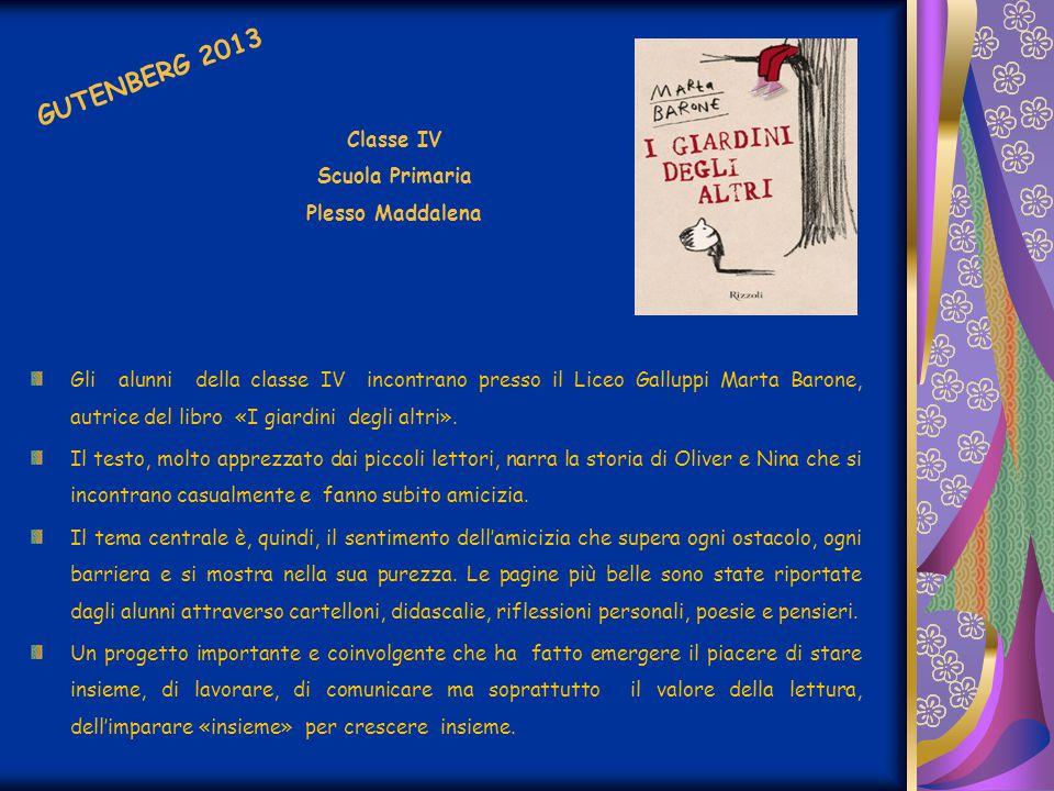 Gli alunni della classe IV incontrano presso il Liceo Galluppi Marta Barone, autrice del libro «I giardini degli altri». Il testo, molto apprezzato da