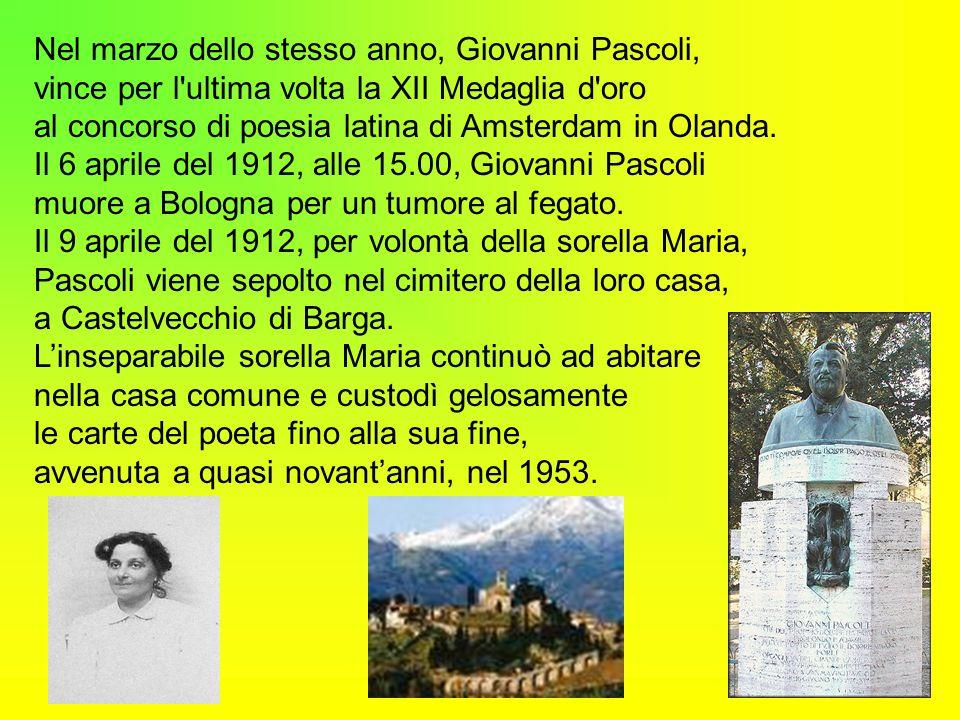 Le opere poetiche di Giovanni Pascoli Le raccolte poetiche sono: 1) Myricae (1891 – 1903); 2) Primi poemetti ( 1897 – 1907); 3) Canti di Castelvecchio ( 1903 – 1912); 4) Poemi conviviali ( 1894 - 1904 ); 5) Nuovi Poemetti (1909 –1911); 6) Odi e Inni (1906 –1913); 7) Le canzoni di Re Enzio ( 1908 – 1912); 8) Poemi del Risorgimento (incompiuta); 9) Poesie varie (incompiuta); 10) Traduzione e riduzioni (incompiuta).