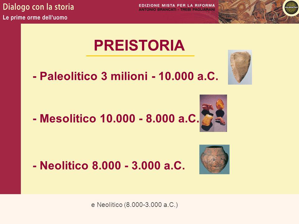e Neolitico (8.000-3.000 a.C.) PREISTORIA - Paleolitico 3 milioni - 10.000 a.C. - Mesolitico 10.000 - 8.000 a.C. - Neolitico 8.000 - 3.000 a.C.