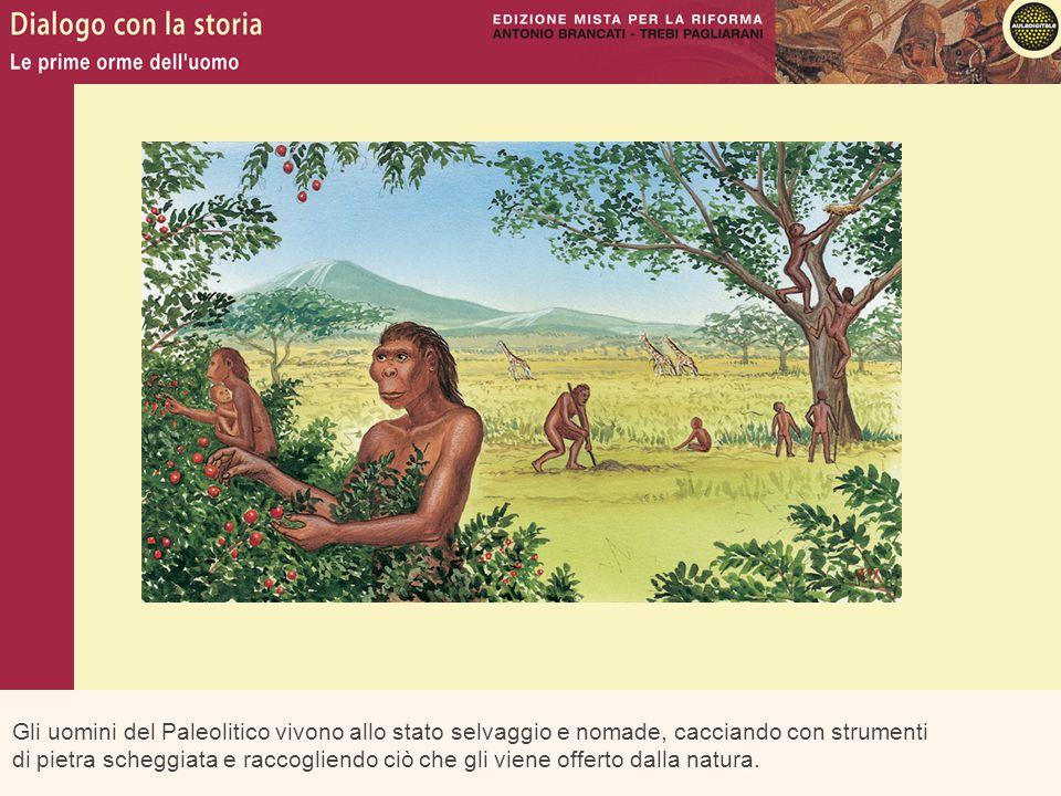 Gli uomini del Paleolitico vivono allo stato selvaggio e nomade, cacciando con strumenti di pietra scheggiata e raccogliendo ciò che gli viene offerto