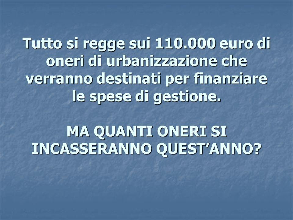 Tutto si regge sui 110.000 euro di oneri di urbanizzazione che verranno destinati per finanziare le spese di gestione.