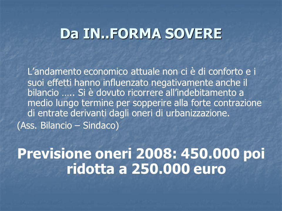 Da IN..FORMA SOVERE L'andamento economico attuale non ci è di conforto e i suoi effetti hanno influenzato negativamente anche il bilancio …..