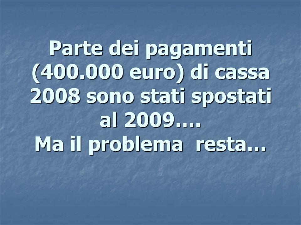 Parte dei pagamenti (400.000 euro) di cassa 2008 sono stati spostati al 2009….
