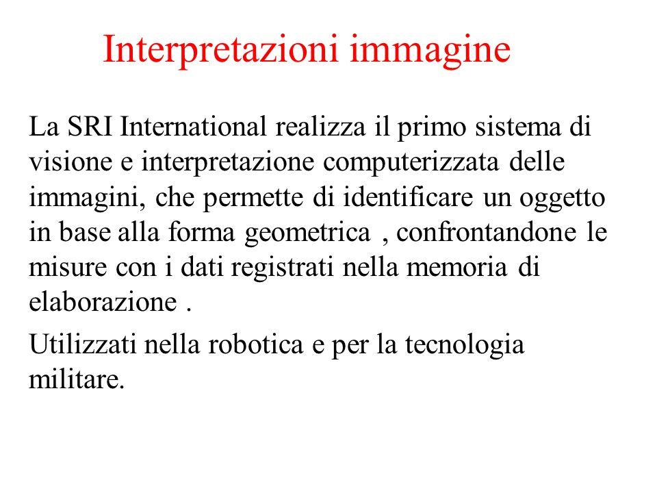 Interpretazioni immagine La SRI International realizza il primo sistema di visione e interpretazione computerizzata delle immagini, che permette di identificare un oggetto in base alla forma geometrica, confrontandone le misure con i dati registrati nella memoria di elaborazione.