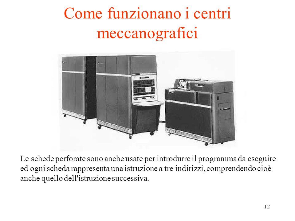 12 Come funzionano i centri meccanografici Le schede perforate sono anche usate per introdurre il programma da eseguire ed ogni scheda rappresenta una