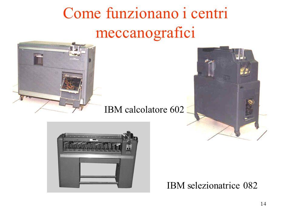 14 Come funzionano i centri meccanografici IBM selezionatrice 082 IBM calcolatore 602
