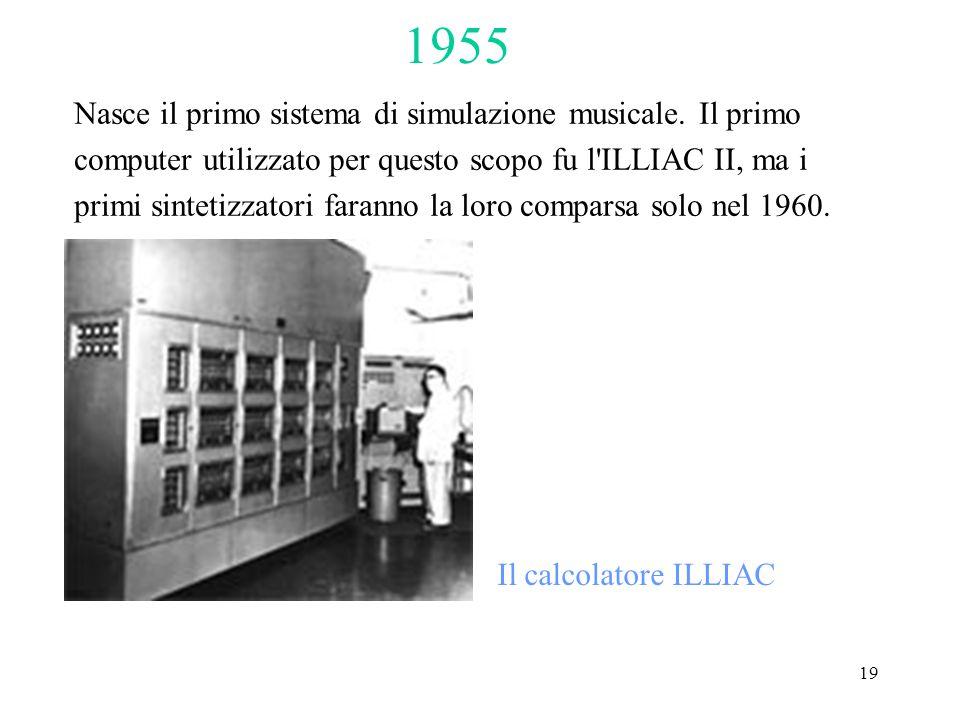 19 Nasce il primo sistema di simulazione musicale. Il primo computer utilizzato per questo scopo fu l'ILLIAC II, ma i primi sintetizzatori faranno la