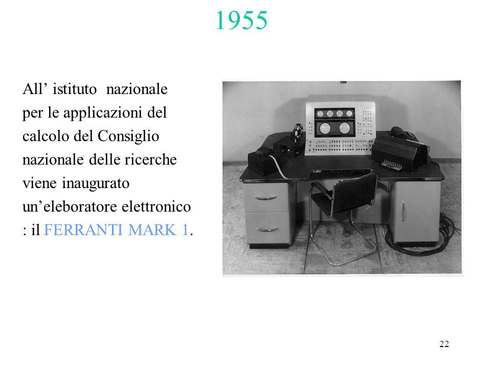 22 1955 All' istituto nazionale per le applicazioni del calcolo del Consiglio nazionale delle ricerche viene inaugurato un'eleboratore elettronico : il FERRANTI MARK 1.