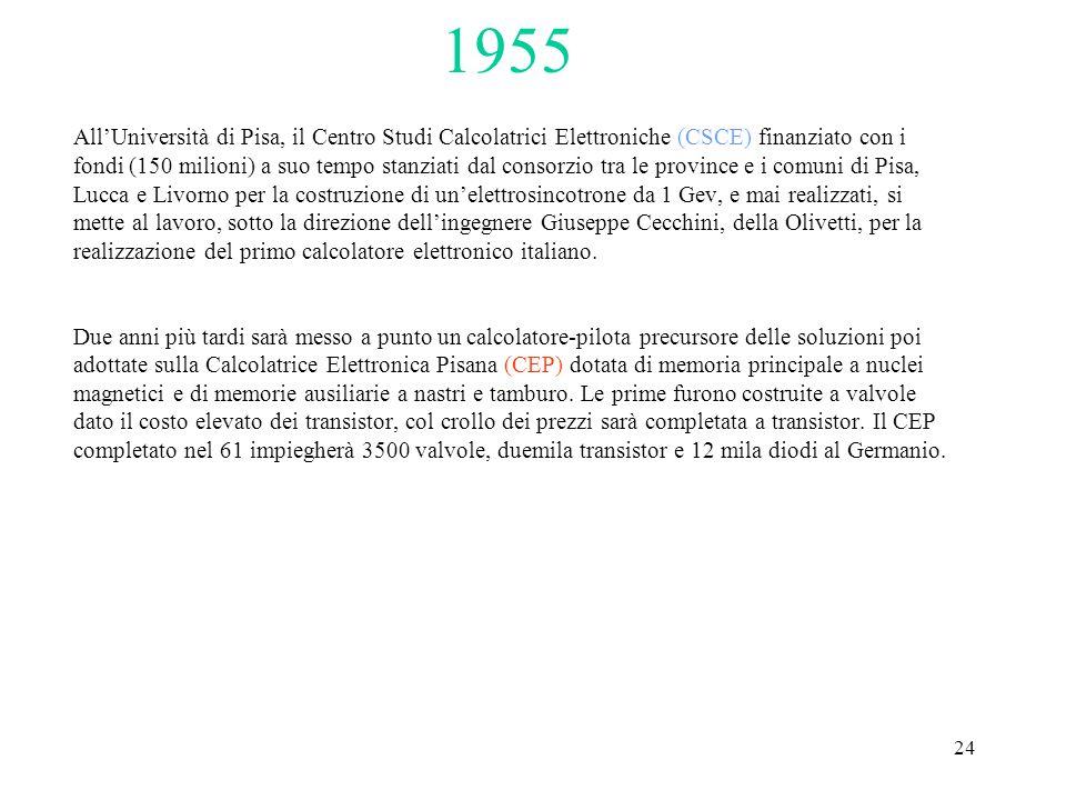 24 All'Università di Pisa, il Centro Studi Calcolatrici Elettroniche (CSCE) finanziato con i fondi (150 milioni) a suo tempo stanziati dal consorzio tra le province e i comuni di Pisa, Lucca e Livorno per la costruzione di un'elettrosincotrone da 1 Gev, e mai realizzati, si mette al lavoro, sotto la direzione dell'ingegnere Giuseppe Cecchini, della Olivetti, per la realizzazione del primo calcolatore elettronico italiano.