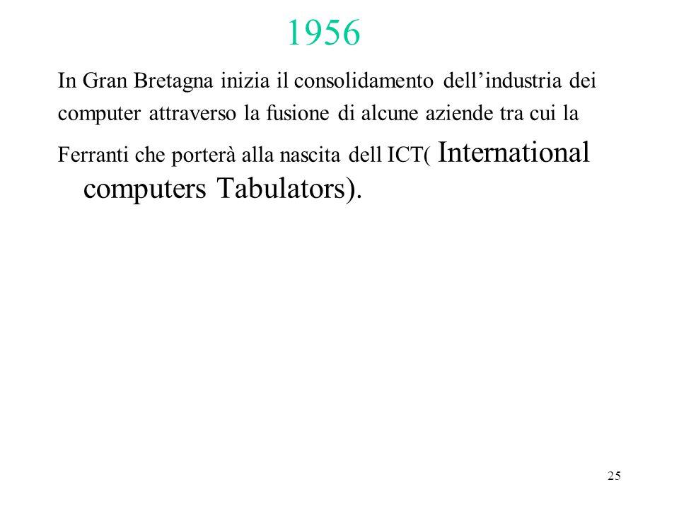 25 In Gran Bretagna inizia il consolidamento dell'industria dei computer attraverso la fusione di alcune aziende tra cui la Ferranti che porterà alla nascita dell ICT( International computers Tabulators).
