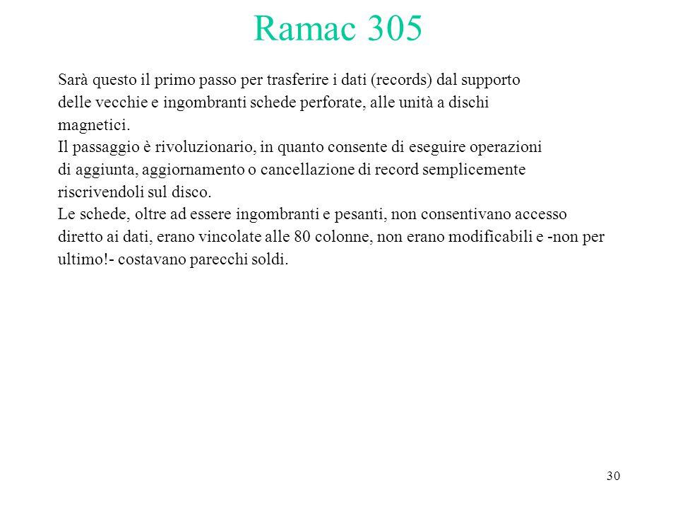 30 Ramac 305 Sarà questo il primo passo per trasferire i dati (records) dal supporto delle vecchie e ingombranti schede perforate, alle unità a dischi magnetici.