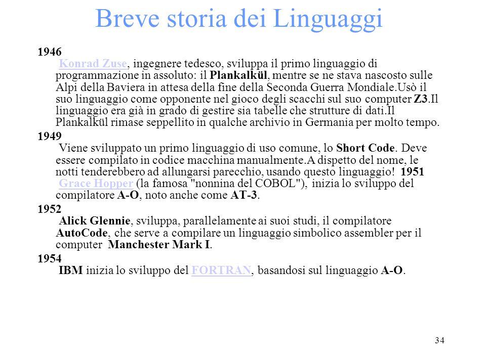34 Breve storia dei Linguaggi 1946 Konrad Zuse, ingegnere tedesco, sviluppa il primo linguaggio di programmazione in assoluto: il Plankalkül, mentre s