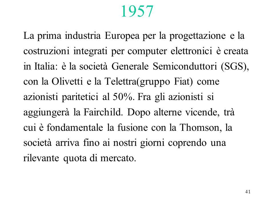 41 La prima industria Europea per la progettazione e la costruzioni integrati per computer elettronici è creata in Italia: è la società Generale Semiconduttori (SGS), con la Olivetti e la Telettra(gruppo Fiat) come azionisti paritetici al 50%.