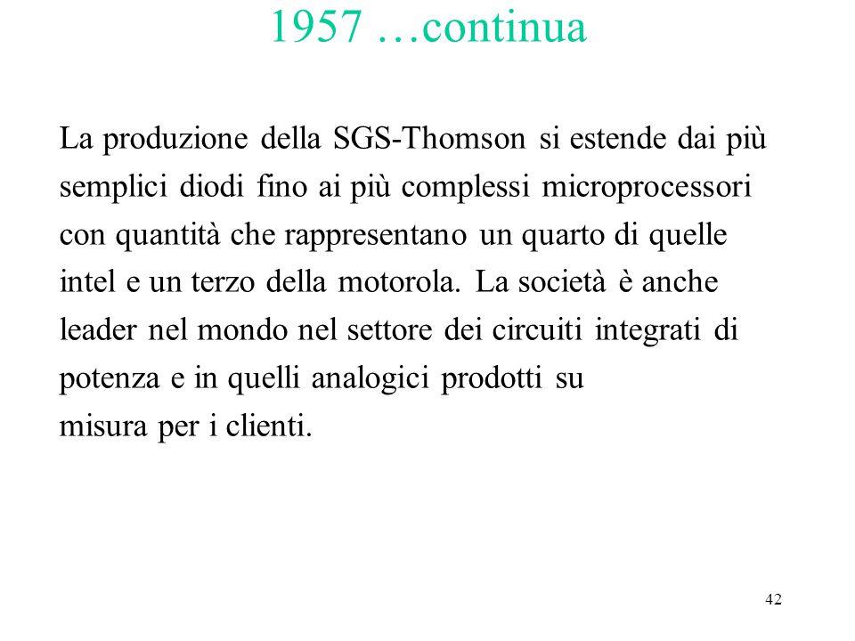 42 1957 …continua La produzione della SGS-Thomson si estende dai più semplici diodi fino ai più complessi microprocessori con quantità che rappresentano un quarto di quelle intel e un terzo della motorola.